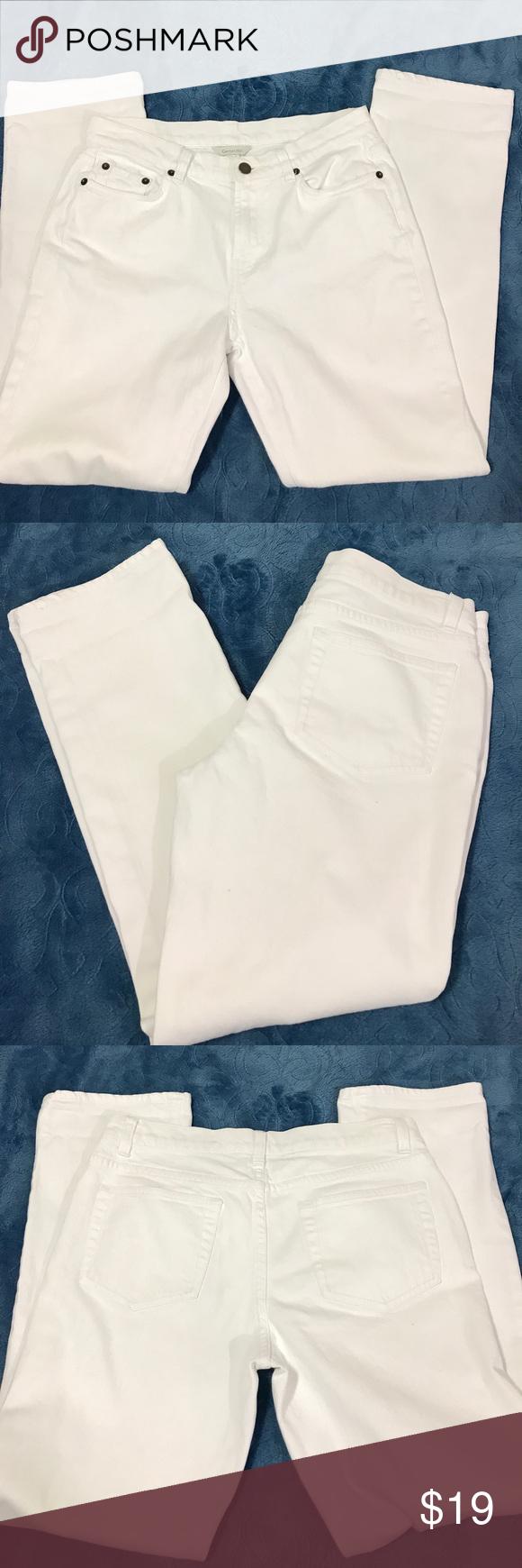 Garnet Hill white straight jeans 8 P Garnet Hill white straight leg jeans EUC 8P Garnet Hill Jeans Straight Leg