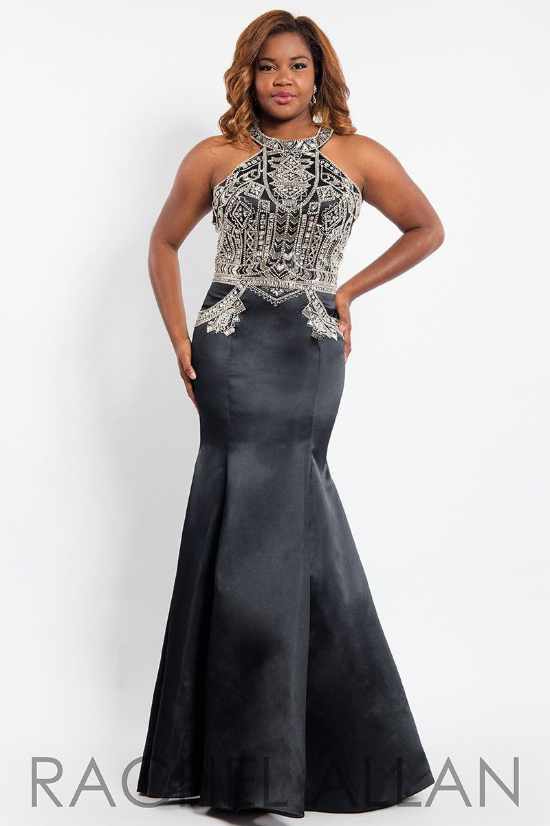 Rachel allan plus black halter open back mermaid prom dress