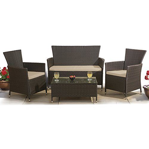 Rattan Effect Cushioned Outdoor Furniture Dining Set Glass-Topped ...