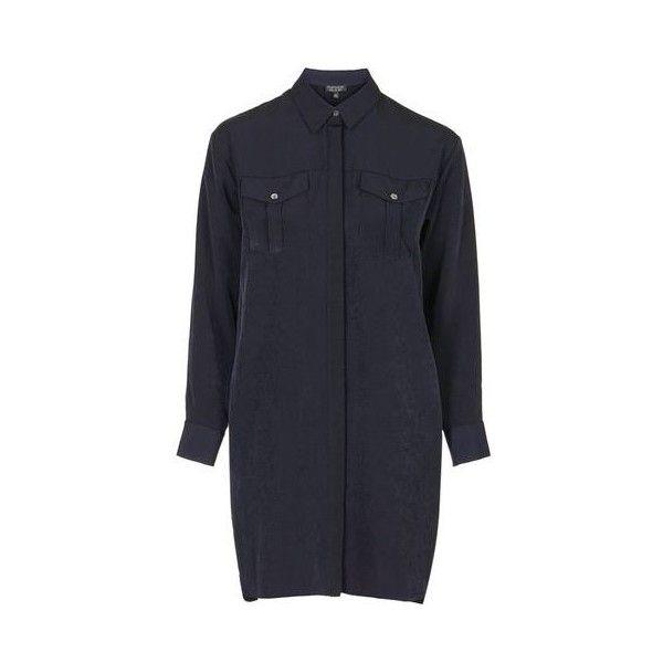 TopShop Petite Shirt Dress (56 CAD) ❤ liked on Polyvore featuring dresses, navy blue, topshop dresses, navy blue dress, navy shirt dress, navy dress and petite shirt dress