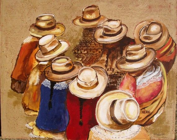 Farmer Market in Panama hats South America by ArtCalifornia, $350.00