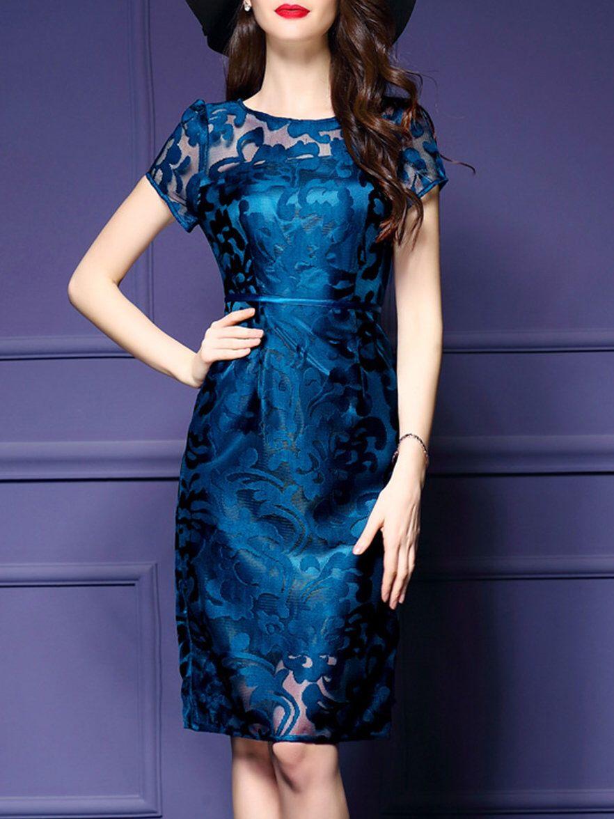 Dark blue seethrough look short sleeve sheath midi dress dress