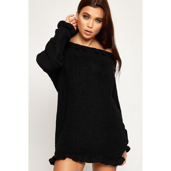 6280df1221e WearAll Knitted Off Shoulder Bardot Jumper Dress (38 NZD) ❤ liked on Polyvore  featuring