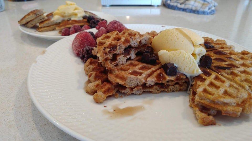 Keto waffles and pancakes using lupin flakes ketorecipes