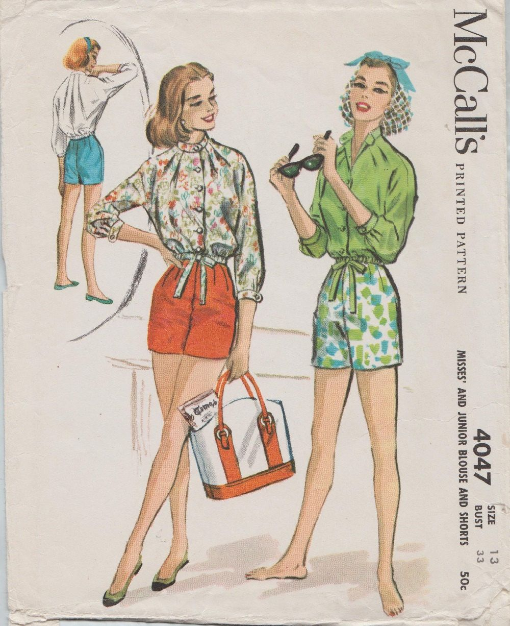Vintage 50s Sewing Pattern / McCalls 4047 / Shorts Blouse Playsuit ...