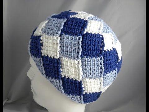 ▷ Tunesisch Häkeln - Mütze in Entrelac - hatnut-Wolle \