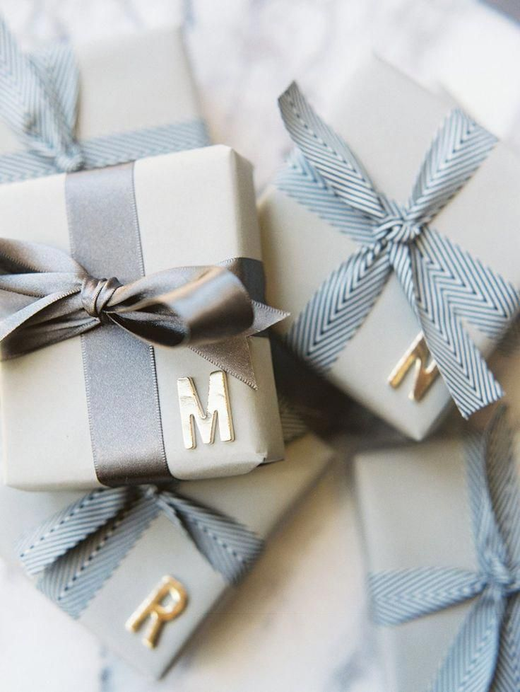 wrapping inspirations and ideas in blue gray and silver #giftwrapping #christmas #boyfriendgiftbasket