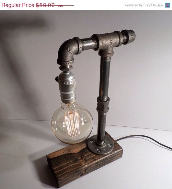 Edison Lamp Rustic Decor Unique Table Lamp Industrial: ON SALE Globe Style Edison Bulb Table Lamp In Weathered