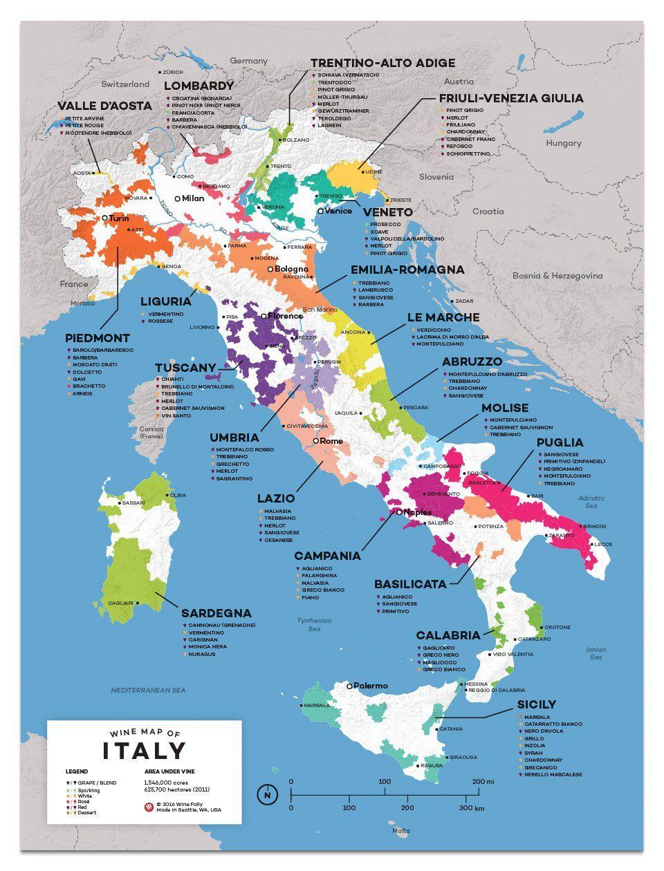 Italy Wine Map Carte des vins, Vin et biere, Vin italien