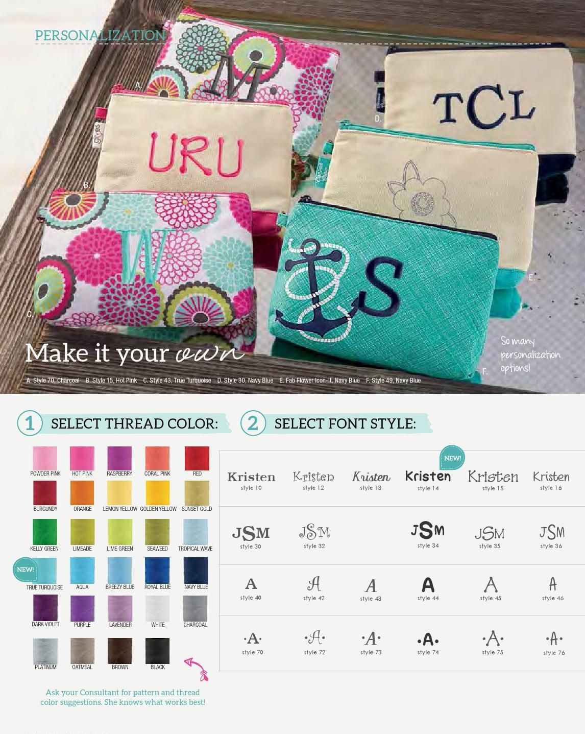 Personalization available at Thirty-One Gifts 2015 Spring-Summer Collection (US) Various colors/prints available. https://www.mythirtyone.com/heavenlymama/