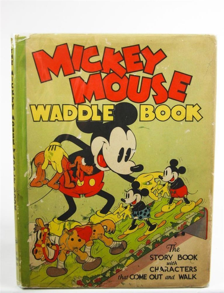 Walt Disney Mickey Mouse Waddle Book Rare 1934 First Edition W/Dust Jacket