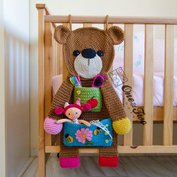 Teddy Bear Organizer - PDF Crochet Pattern - Instant Download - Bear Useful Organizer