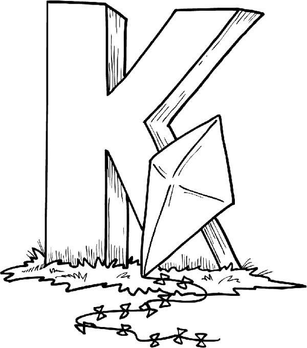 Finding Letter K With Kite Coloring Page Bulk Color