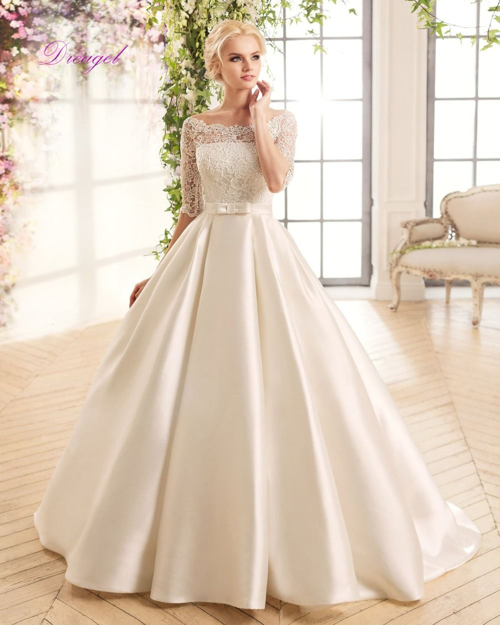 Satin And Lace Wedding Gowns: Dreagel Gorgeous Boat Neck Half Sleeves Wedding Dress 2017