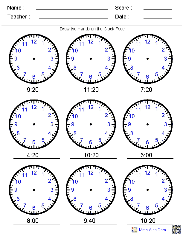 Draw the Hands on the Clock Worksheets | Executive Functioning ...