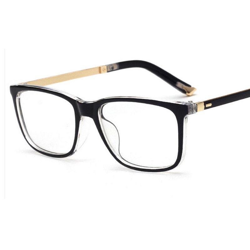 eee90ec5bce 2017 New Optical Plain Mirror Square frame Good Quality Eyeglasses Frames  Men Women PC + Metal Eye Glasses Frame for Myopia