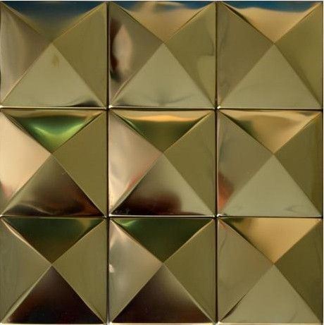 Gold metal mosaic wall tile panel SMMT007 golden stainless steel ...