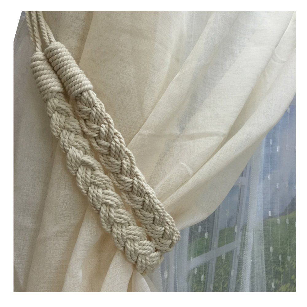 2 Pieces Fine Hand Tied Curtain Clip Buckle Holdback Fabric Drapery Tassels Curtain Tiebacks Tassel Window Cotton Rope Tie Ball Back Accessories Beige Rope Curtain Tie Backs Diy Curtain Tie