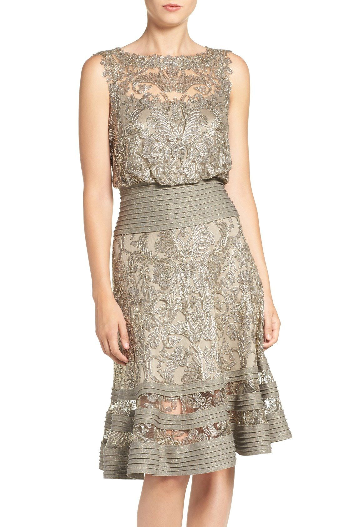Tadashi Shoji Mixed Media Blouson Dress available at #Nordstrom ...