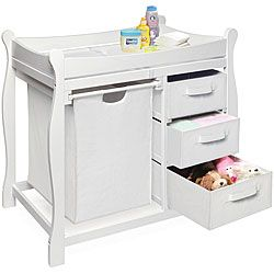 White Changing Table With Hamper And Three Baskets | Overstock.com Shopping    Big Discounts