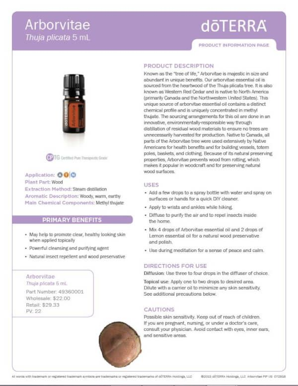 Arborvitae doTERRA Uses and Benefits with Diffuser Recipes | Do