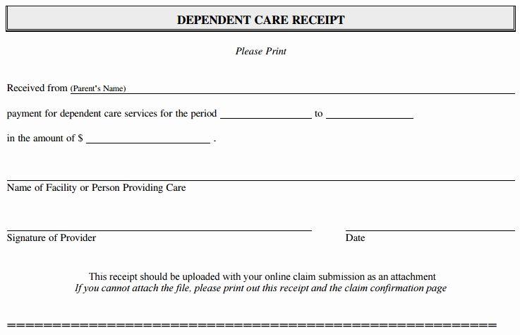 Child Care Payment Receipt Elegant How To File A Dependent Care Fsa Claim 24hourflex Receipt Template Business Template Balance Sheet Template
