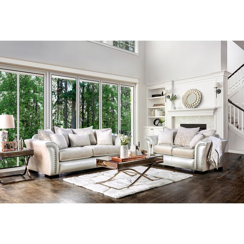 Furniture of America Linwood Classic Contemporary 2-piece Two-Tone ...