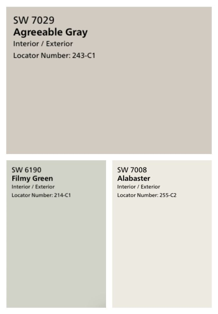 These farmhouse neutral paint colors are my favorite! They're perfectly subtle - Agreeable Grey, Alabaster, and Filmy Green. #sherwinwilliamsagreeablegray