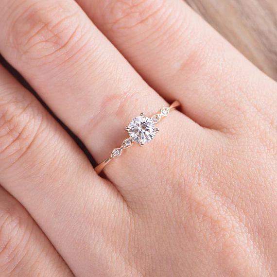 Photo of Moissanite Engagement Ring Rose Gold Solitaire Marquise Diamond Bridal Ring Dainty Promise Ring Women Wedding Anniversary Gift For Her