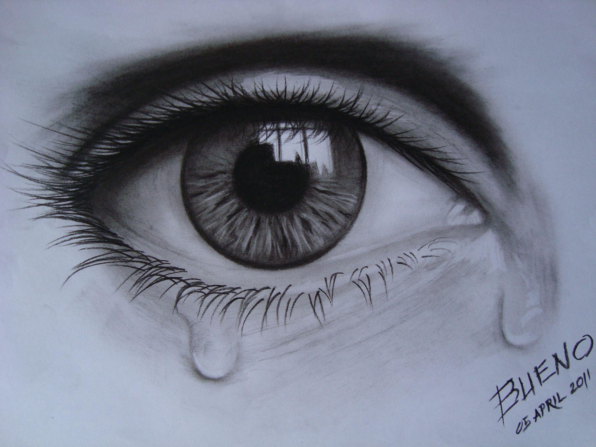Crying Eye In Charcoal Eye Drawing Crying Eye Drawing