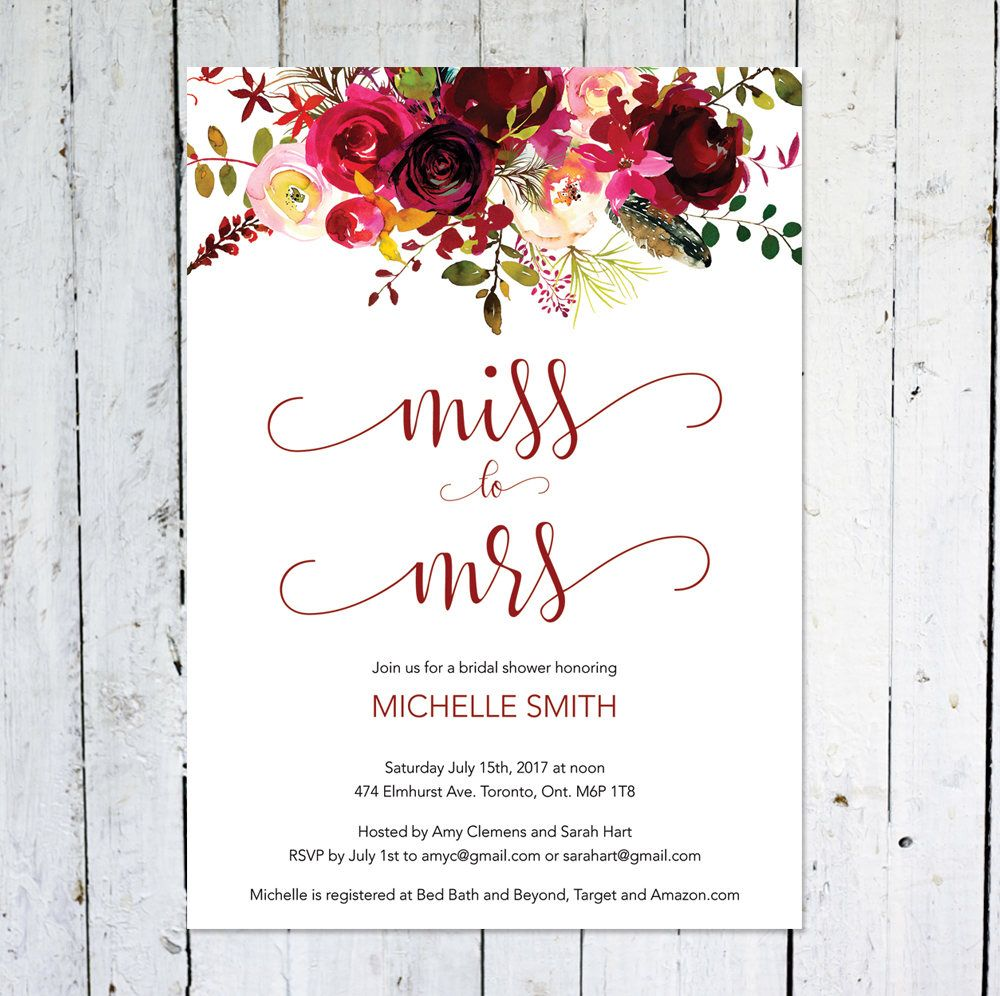 Bridal Shower Invitation Miss To Mrs Boho Bridal Shower