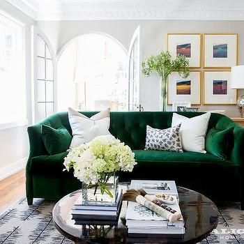 Emerald Green Velvet Sofa With Black Coffee Table Green Sofa