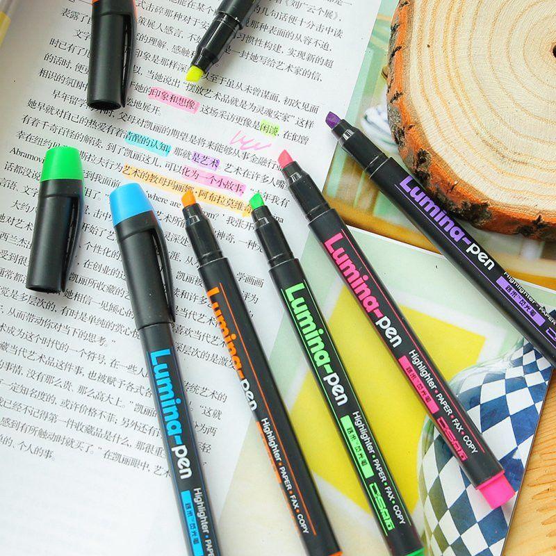 6 Pcs Lot Lumina Pens Highlighter For Paper Copy Fax Diy Drawing