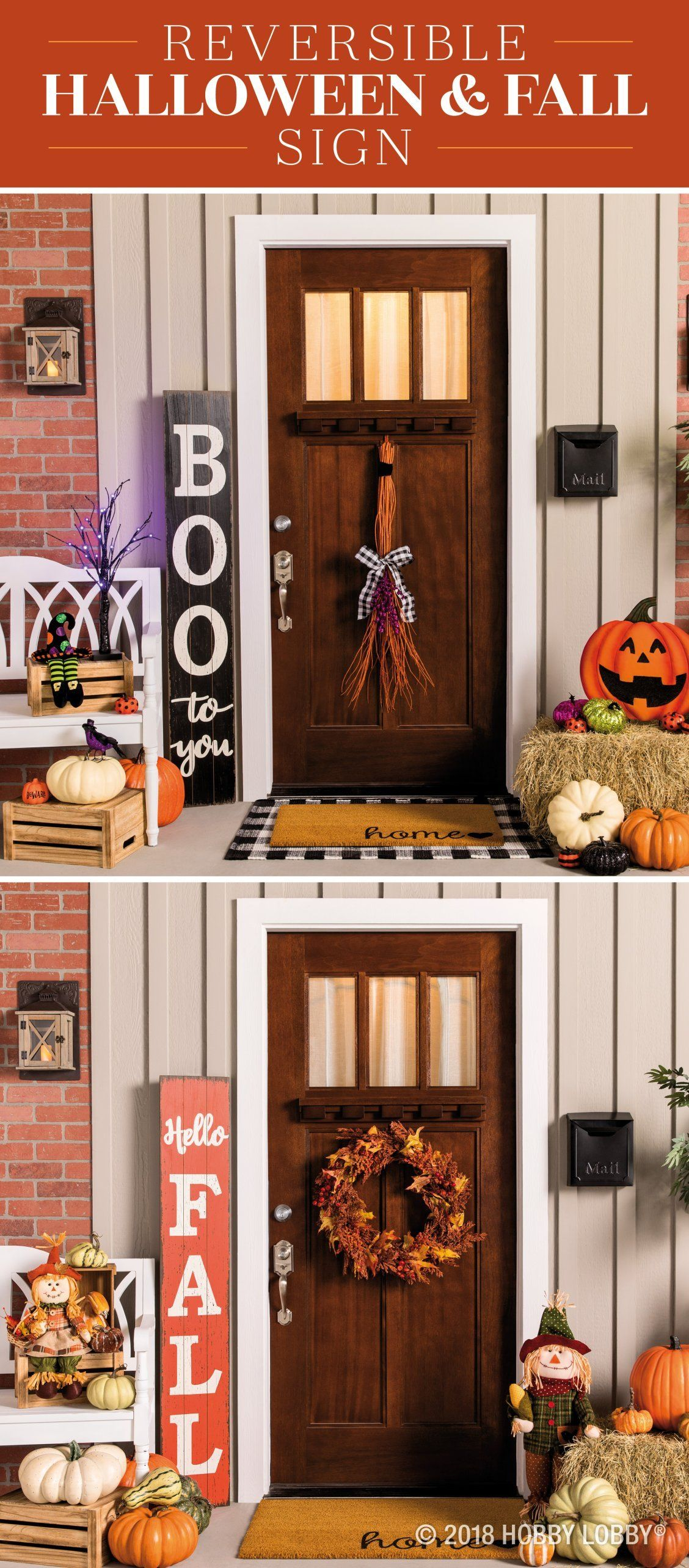switch up your porch decor for fall and halloween with cute pumpkins