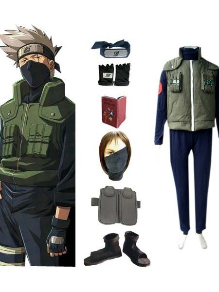 Discount Authenti Naruto Cosplay Hatake Kakashi Deluxe Costume Cheap