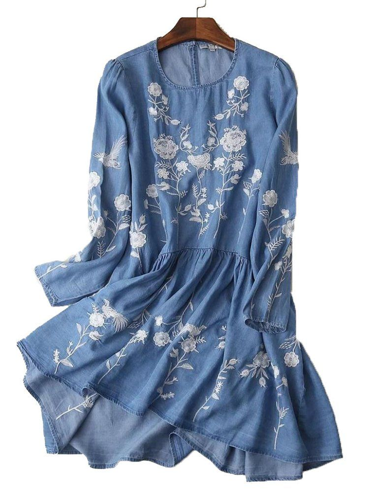 226bd565d62 Chambray Embroidered Floral Tunic Goodnight Macaroon  www.goodnightmacaroon.co