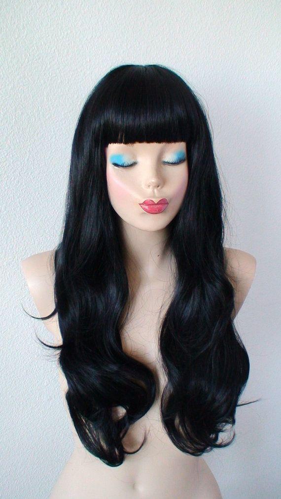 Black wig. Long black hair wig. Straight across bangs wig. Durable ...