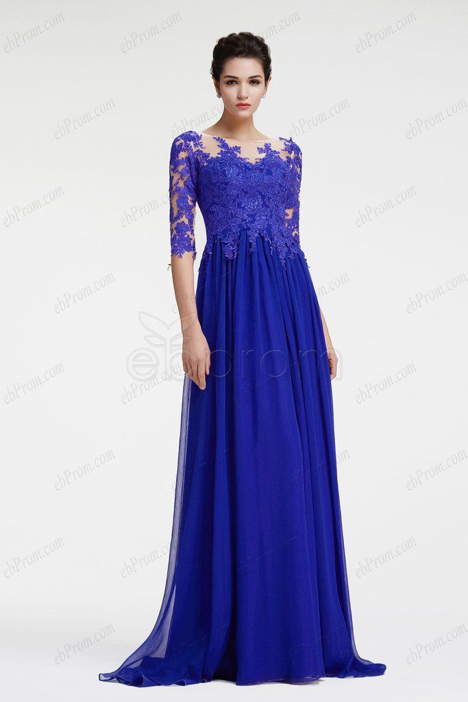 blue long sleeve evening dress with slit plus size formal dress