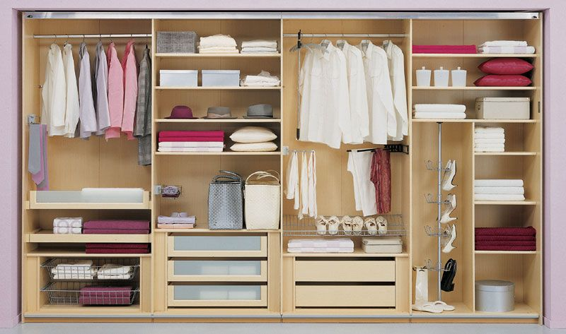 Closet For Bedroom With Light Wooden Design For The Home