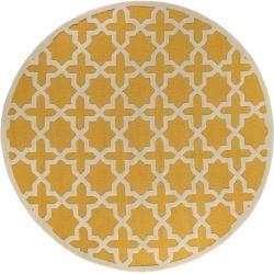 Photo of benuta wool carpet round Windsor Yellow ø 120 cm round – natural fiber carpet made of wool benuta