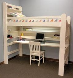 Bunk Bed Desk Combo Plans Downloadable Pdf Bunk Bed With Desk Loft Beds For Teens Diy Bunk Bed