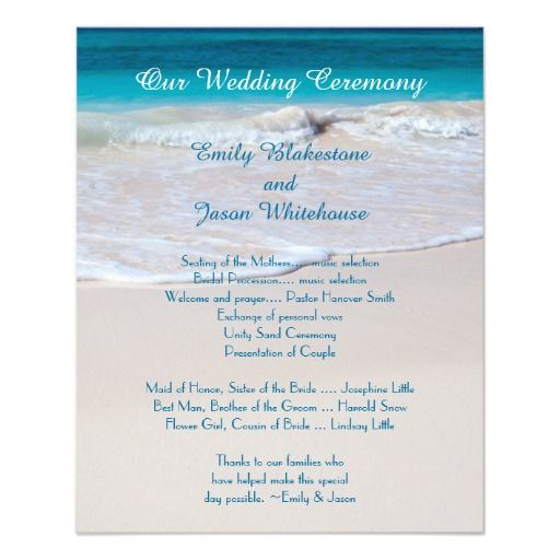 Small Ceremony Big Reception Invitations: Coastal Vows Affordable Wedding Program