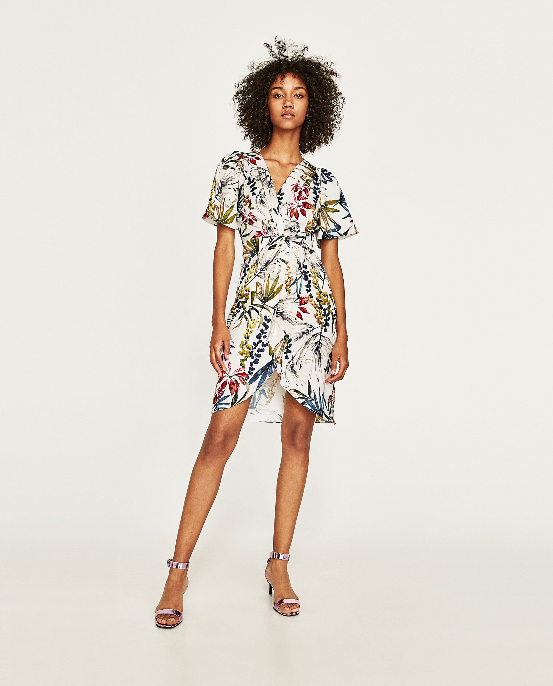 f754a0e0 Image 1 of PRINTED DRESS WITH KNOT from Zara | Attire | Striped midi ...