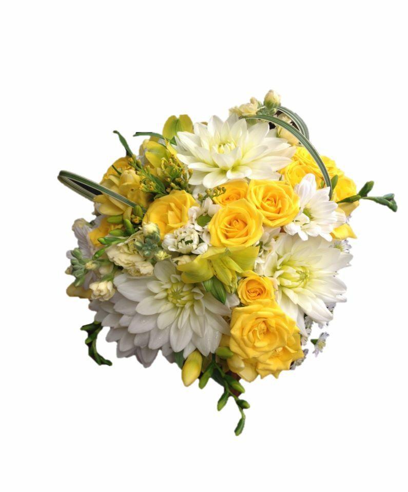 Bridal Bouquet Of White Dahlias, Yellow Spray Roses