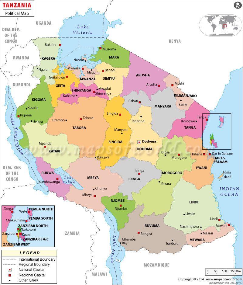 Mapa de Tanzania Tanzania Dar es salaam and Tanzania safari