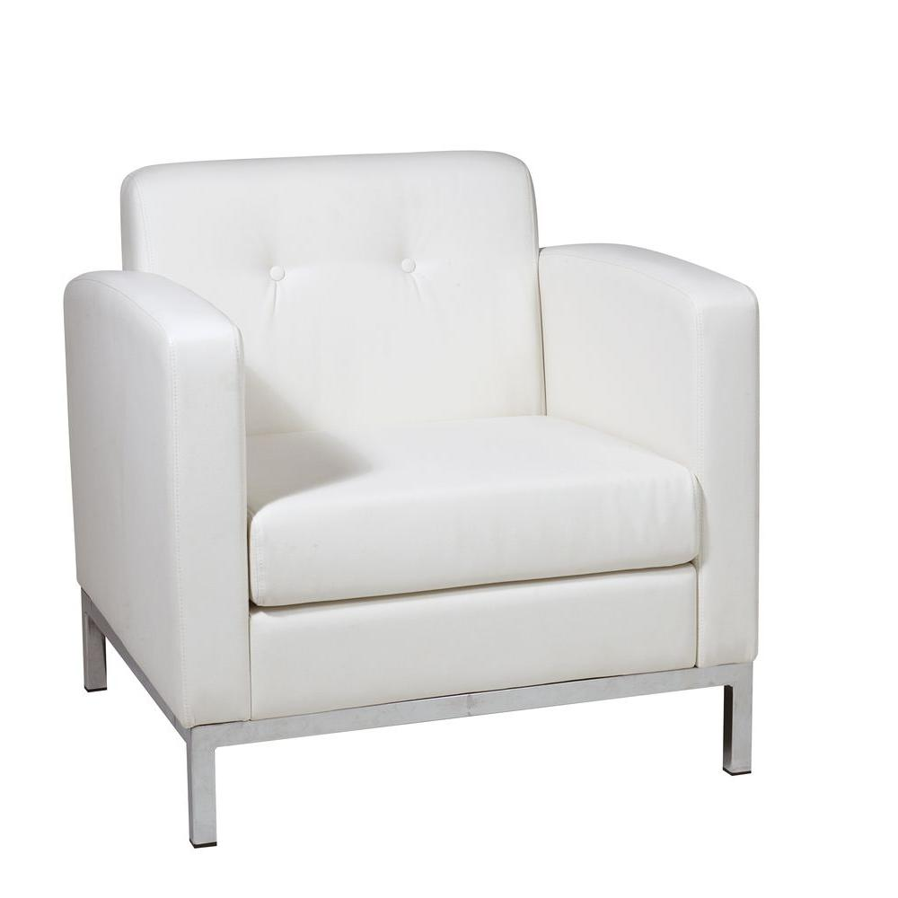 Osp Home Furnishings Wall Street Black Faux Leather Arm Chair Wst51a B18 The Home Depot In 2020 White Armchair Osp Home Furnishings Armchair