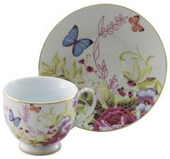 Porcelain Butterfly Teacups Set of 6 includes 6 Tea Cups & 6 Saucers ...