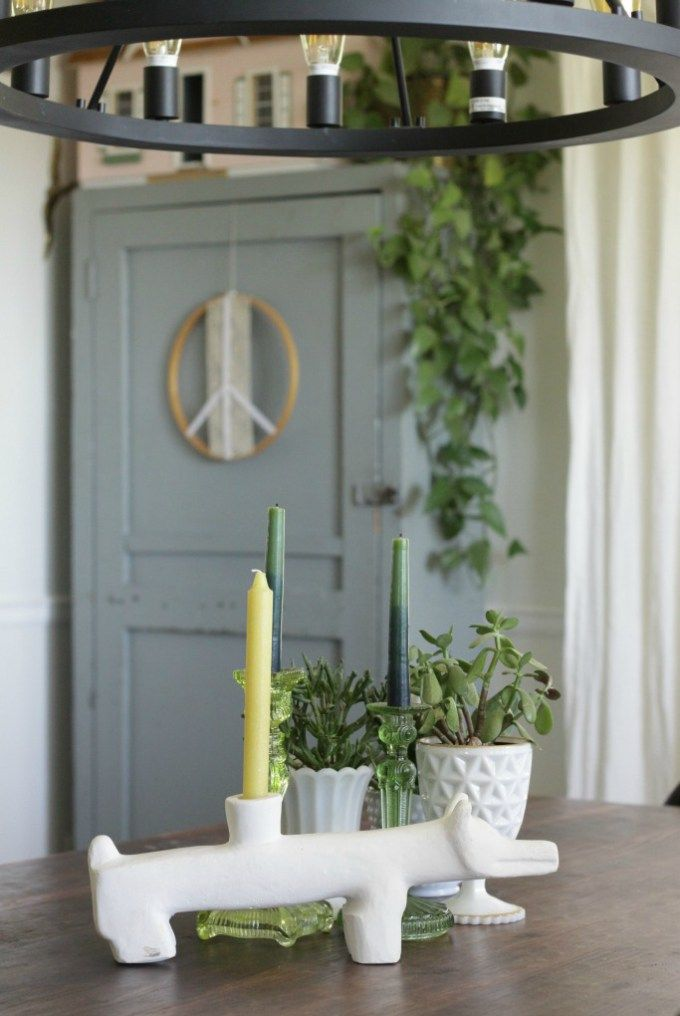 Quirky Coyote Candle Holder; Dining Table With Milk Glass And Greenery, Boho