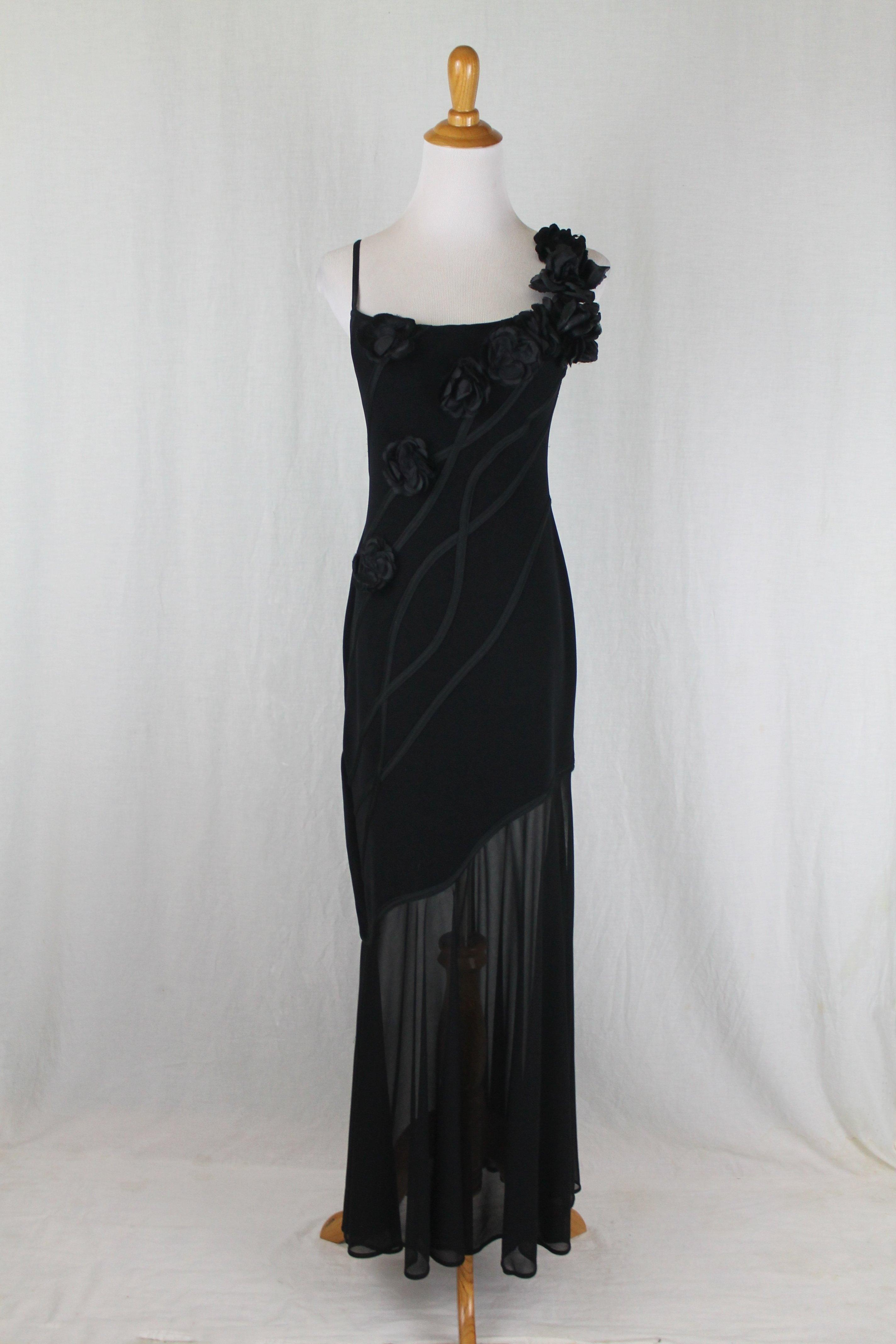 Tadashi Shoji Black Vintage Spaghetti Strap Illusion Evening Gown Long Formal Dress Size Petite 4 S 64 Off Retail Vintage Black Dress Evening Gown Dresses Formal Dresses Long [ 4272 x 2848 Pixel ]