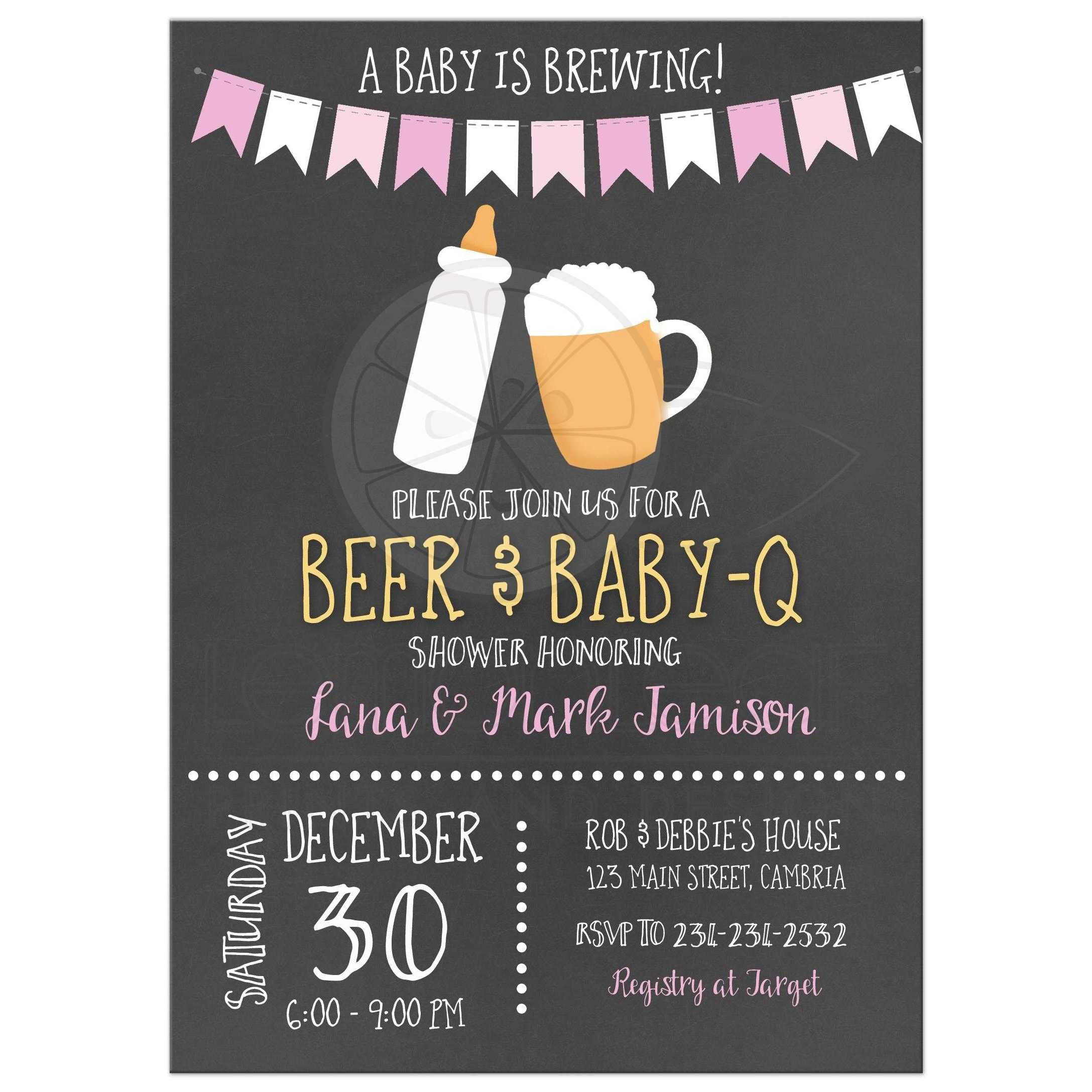 Baby is Brewing BBQ Baby-Q Co-Ed Chalkboard Baby Shower Invitations ...